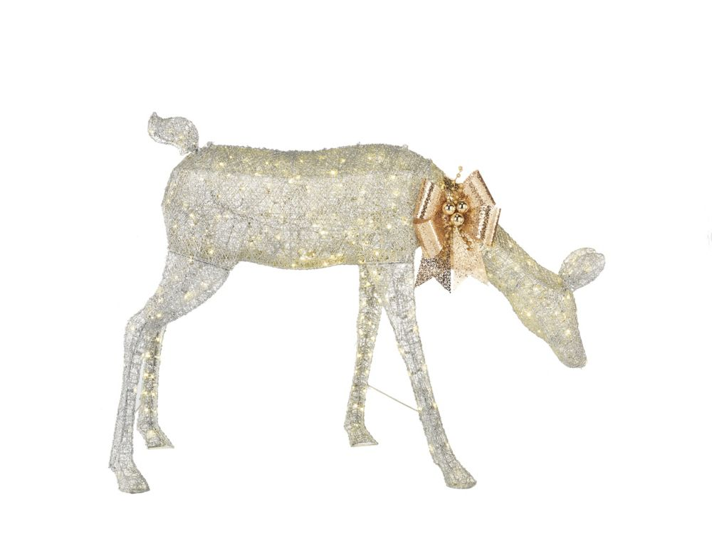 Home Accents Holiday 54-inch 280-Light Warm White LED-Lit Giant Silver Doe Christmas Decoration