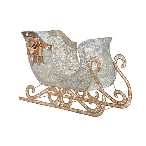 Warm White LED-Lit Giant Silver Sleigh Christmas Decoration