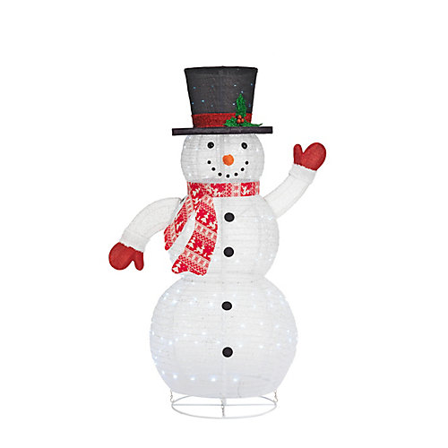60-inch Cool White LED-Lit Collapsable Snowman Christmas Decoration