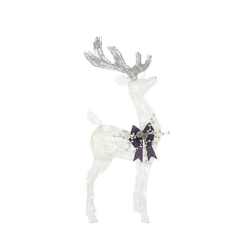 42-inch LED-Lit White Deer Indigo Christmas Decoration