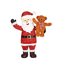 60-inch 240-Light Warm White LED-Lit Santa with Bear Christmas Decoration