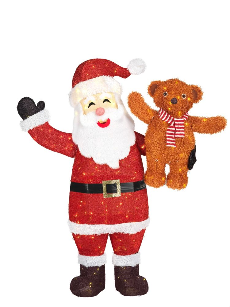 Home Accents Holiday 60-inch 240-Light Warm White LED-Lit Santa with Bear Christmas Decoration