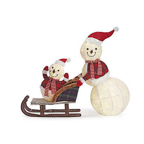 Cool White LED-Lit Snowman and Kid in Sleigh Christmas Decoration