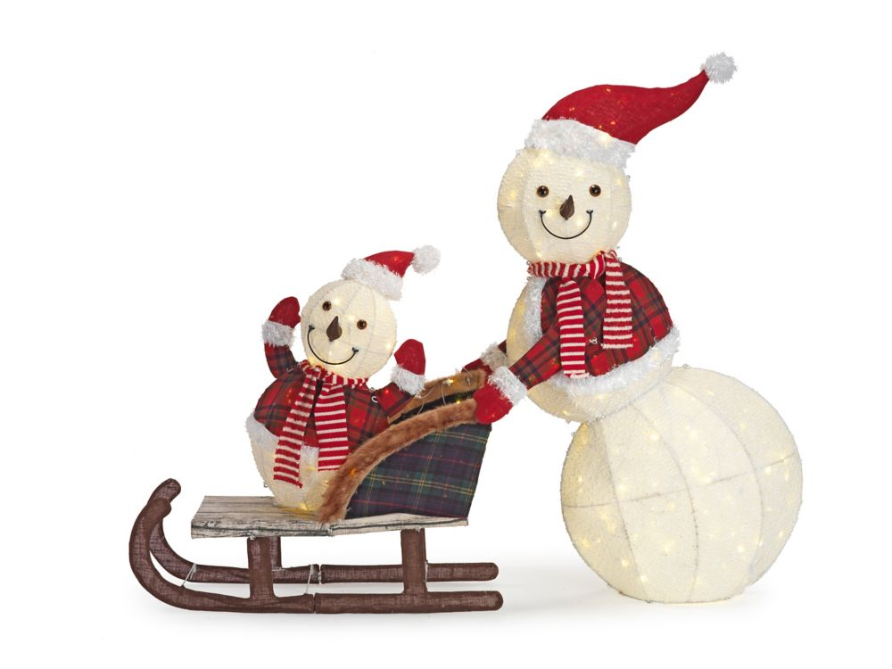 Home Accents Holiday Cool White LED-Lit Snowman and Kid in Sleigh Christmas Decoration