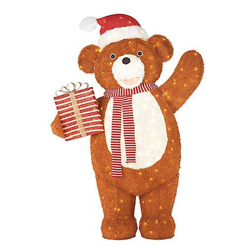 LED-Lit Giant Teddy Bear with Present Christmas Decoration
