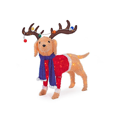 40-inch 105-Light Warm White LED-Lit Dog with Antlers Christmas Decoration