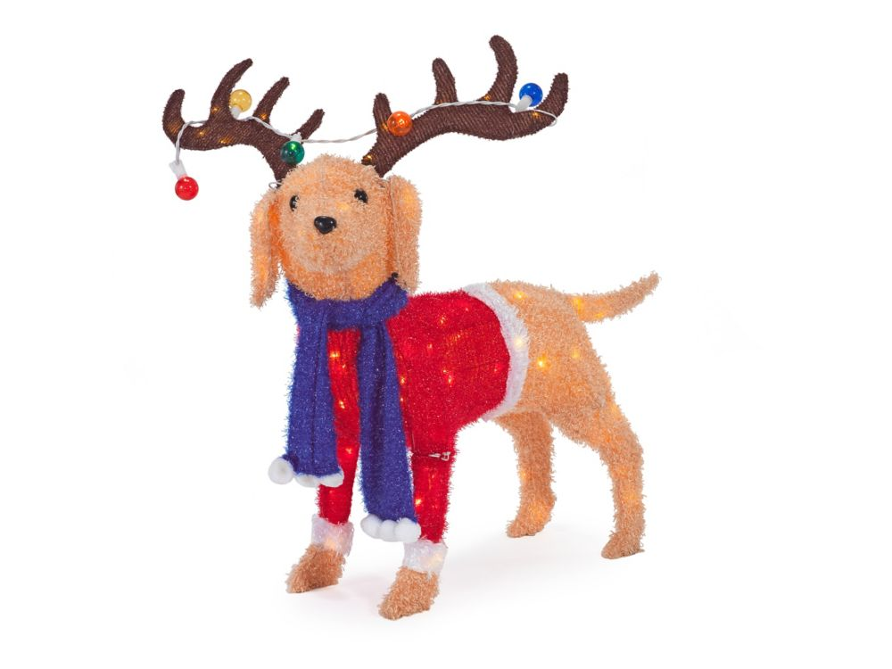 Home Accents Holiday 40-inch 105-Light Warm White LED-Lit Dog with Antlers Christmas Decoration