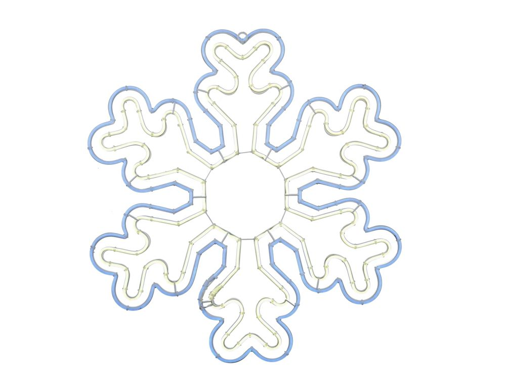 Home Accents Holiday 24-inch Cool White LED-Lit Blue/White Neon Snowflake Christmas Decoration