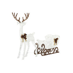 Home Accents Holiday Cool White LED-Lit Deer with Sleigh Christmas Decoration