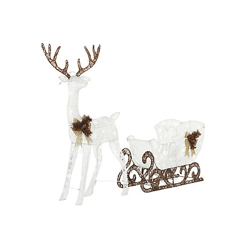 Cool White LED-Lit Deer with Sleigh Christmas Decoration