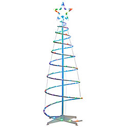 Illuminations 5.5 ft. Color Blast Remote Controlled RGB LED 96-Light Spiral Tree - 5 Points Star