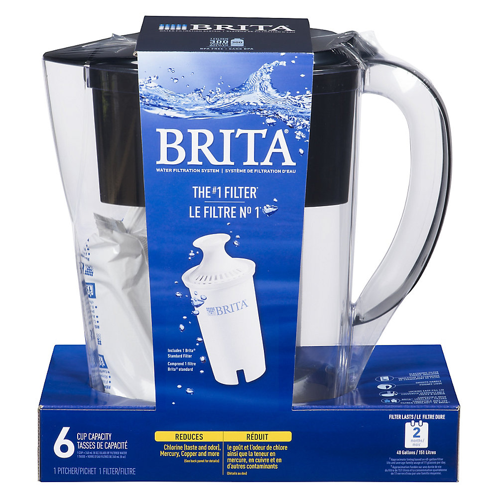 Space Saver Water Filter Pitcher, Black, 6 Cup