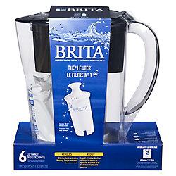Brita Système de filtration d'eau en pichet Brita, modèle Space Saver noir de 6 tasses avec 1 filtre de rechange