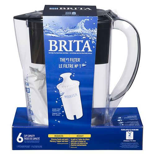 Brita Space Saver Water Filter Pitcher with 1 Replacement Filter, Black, 6 Cup