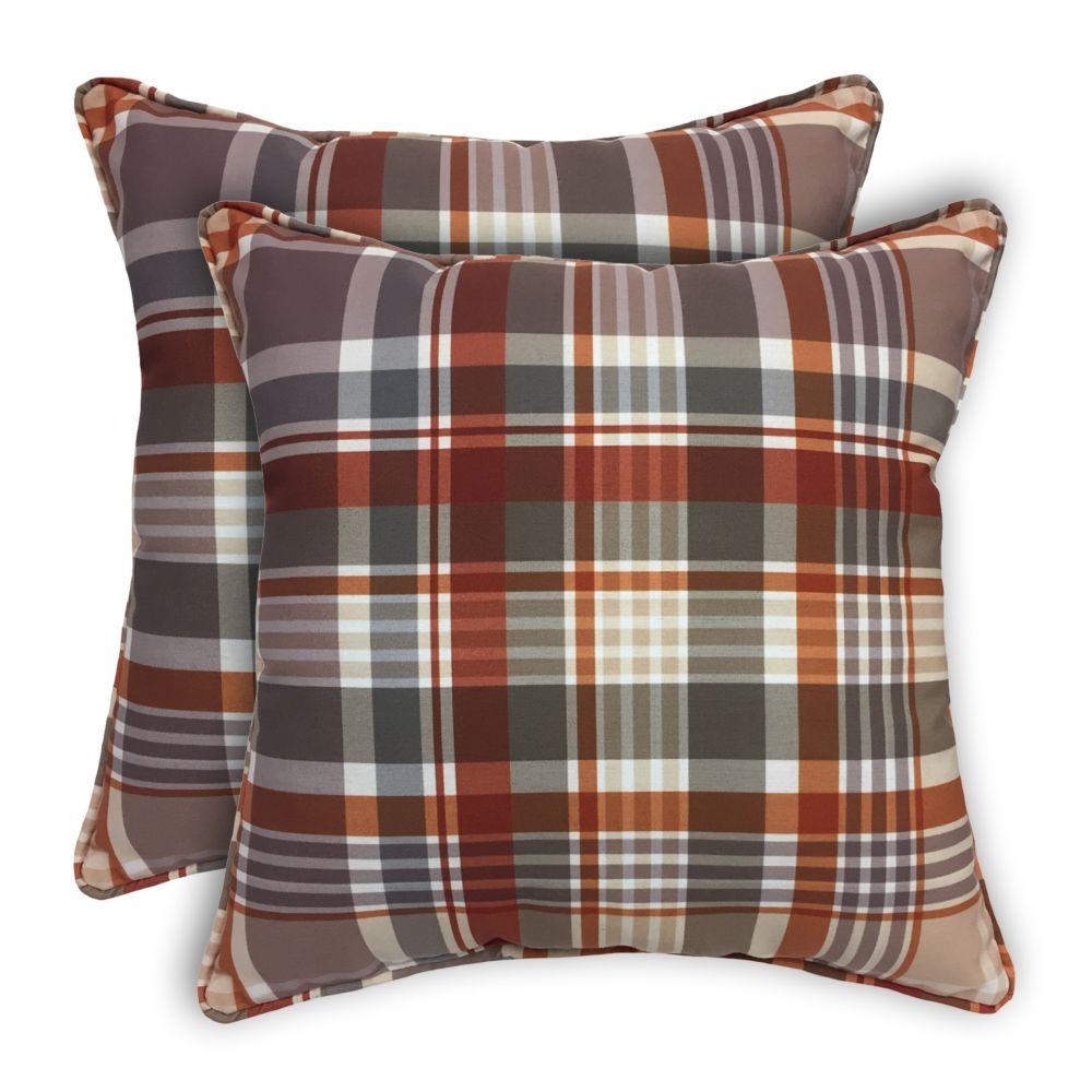 2pk Fall Plaid 17 inch Pillows