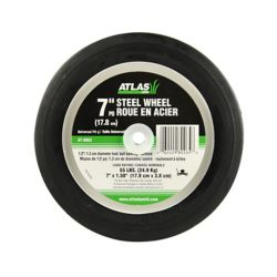 Atlas Replacement 7-inch Steel Lawn Mower Wheel With Centered Ball Bearings