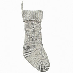 20 inch Chunky Cable Knit Stocking - Ivory