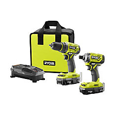 18V ONE+Lithium-Ion Cordless Brushless Drill/Driver-Impact Driver Kit (2-Tool)w/(2) 1.3 Ah Batteries