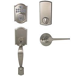 Defiant Castle Satin Nickel Castle Electronic Door Lock with Freedom Interior Lever