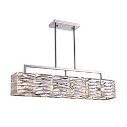 Squill 30 inch 4 Light Chandelier with Polished Nickel Finish