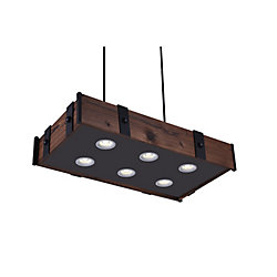 Pago 35 inch 6 Light Chandelier with Black Finish