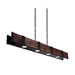 Pago 59-inch 4-Light Chandelier with Black Finish