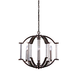 Marlia 22 inch 6 Light Chandelier with Brownish Silver Finish