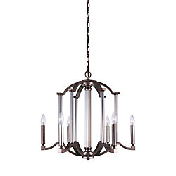 Marlia 25 inch 6 Light Chandelier with Brownish Silver Finish