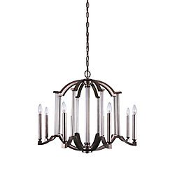 Marlia 31 inch 8 Light Chandelier with Brownish Silver Finish