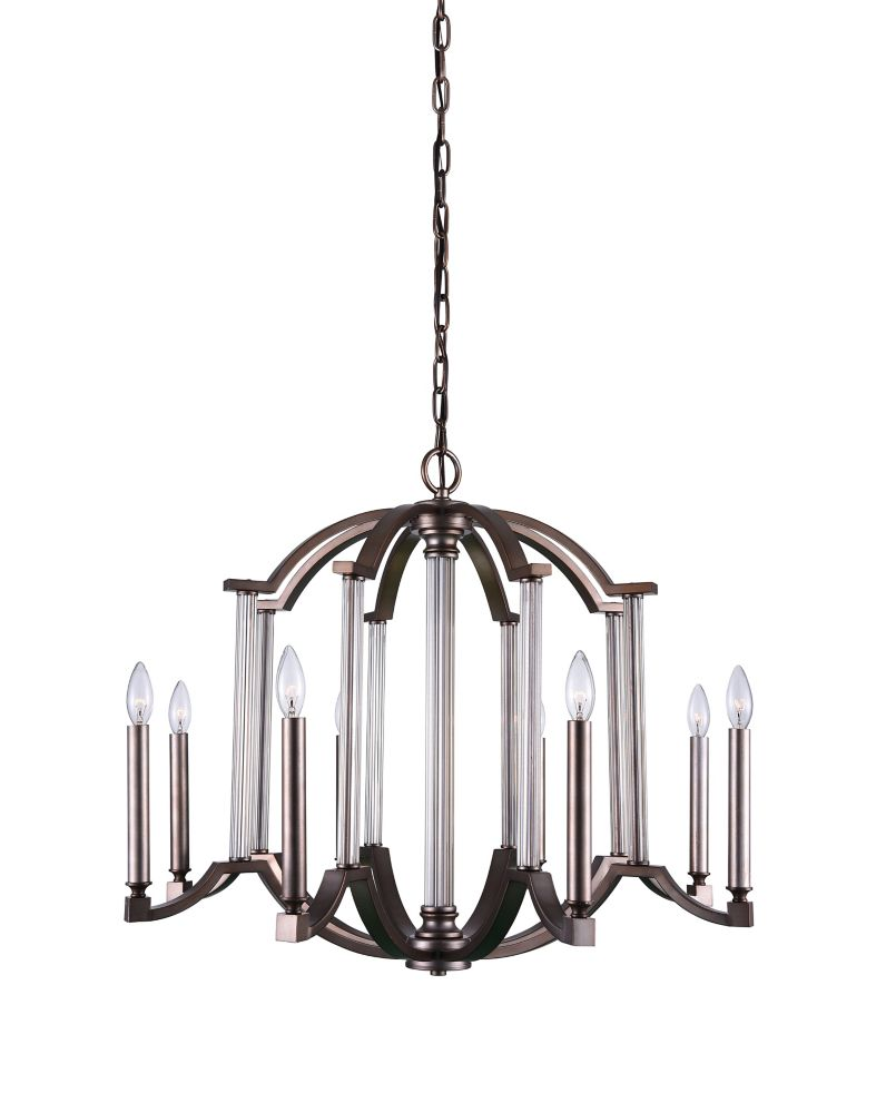 CWI Lighting Marlia 31 inch 8 Light Chandelier with Brownish Silver Finish
