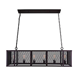 Heale 47 inch 6 Light Chandelier with Reddish Black Finish