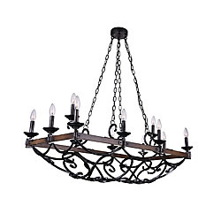 CWI Lighting Morden 43 inch 12 Light Chandelier with Gun Metal Finish