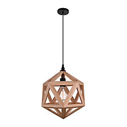 Lante 13 inch 1 Light Mini Pendant with Natural Wood Finish