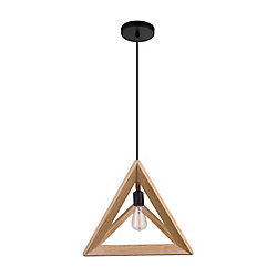 CWI Lighting Lante 17 inch 1 Light Pendant with Natural Wood Finish