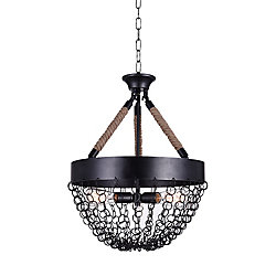 Mackenzie 18 inch 3 Light Chandelier with Antique Black Finish