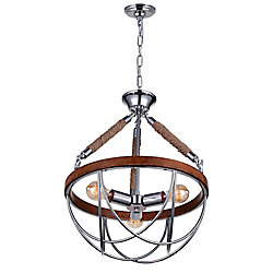 Parana 18 inch 3 Light Chandelier with Chrome Finish