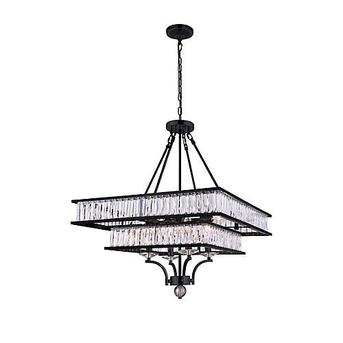 Shalia 23 inch 8 Light Chandelier with Black Finish