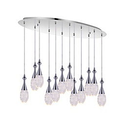 Dior 34 inch 12 Light Chandelier with Chrome Finish