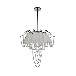 Draped 24 inch 5 Light Chandelier with Chrome Finish