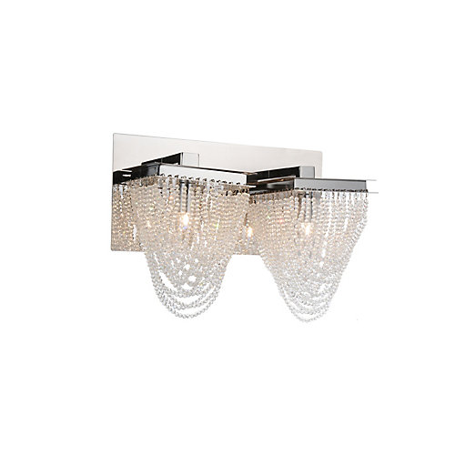 Finke 14 inch 2 Light Wall Sconce with Chrome Finish