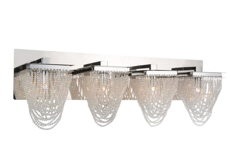 CWI Lighting Finke 29 inch 4 Light Wall Sconce with Chrome Finish
