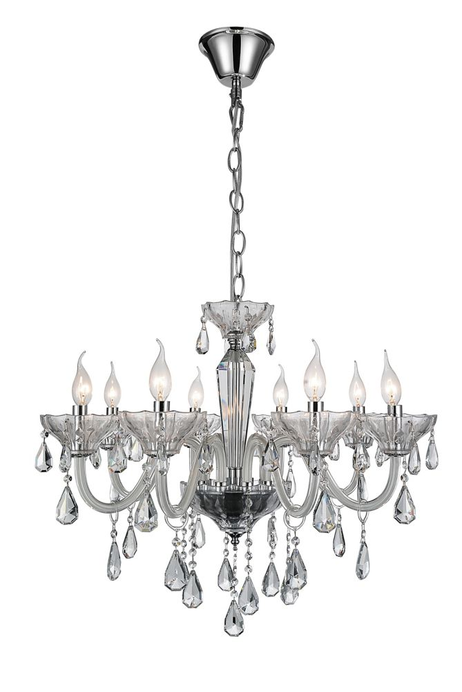 CWI Lighting Harvard 28 inch 8 Light Chandelier with Chrome Finish