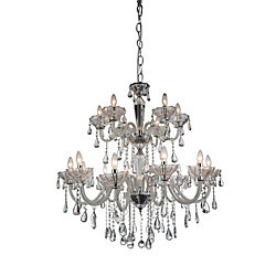 CWI Lighting Harvard 35 inch 18 Light Chandelier with Chrome Finish