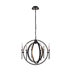 CWI Lighting Aurea 27 inch 6 Light Chandelier with Golden Brown Finish
