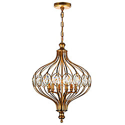 Altair 19 inch 6 Light Chandelier with Antique Bronze Finish