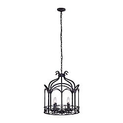 Sequoia 16 inch 4 Light Chandelier with Brownish Black Finish