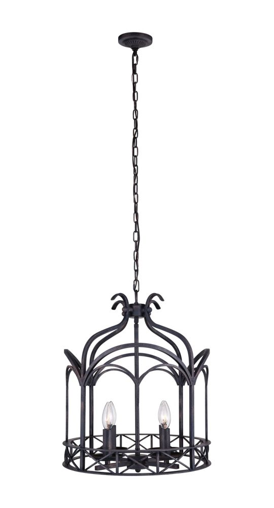 CWI Lighting Sequoia 16 inch 4 Light Chandelier with Brownish Black Finish