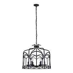 Sequoia 24 inch 6 Light Chandelier with Brownish Black Finish