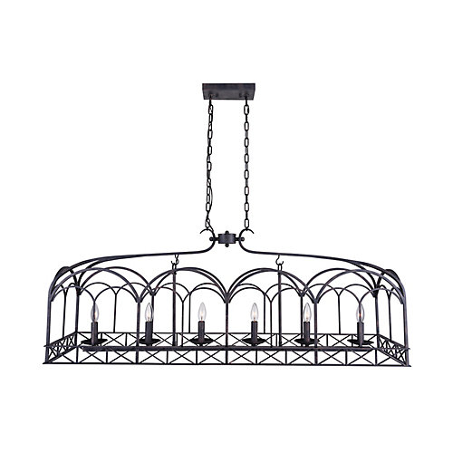Sequoia 50 inch 6 Light Chandelier with Brownish Black Finish