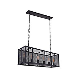 Heale 35 inch 6 Light Chandelier with Reddish Black Finish